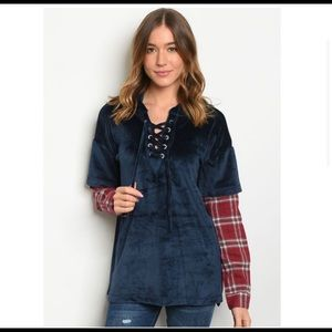 Entro - Velvety Navy Top with Plaid Sleeves - NWT